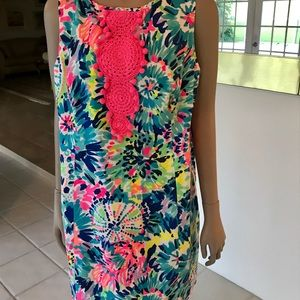 Lilly Pulitzer Pink Label Shift Dress Crochet 16